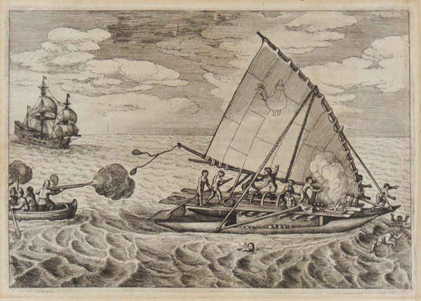 [Willem Shouten attacking a Tongiaki near Tonga.]