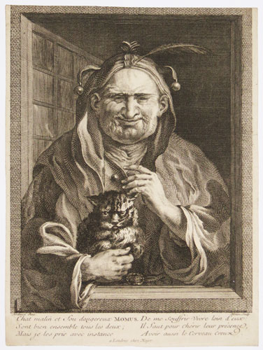 [The Elderly Fool and his Cat.]