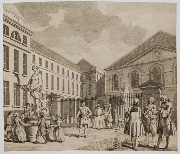 [A perspective view of the Foundling Hospital, with emblematic figures]
