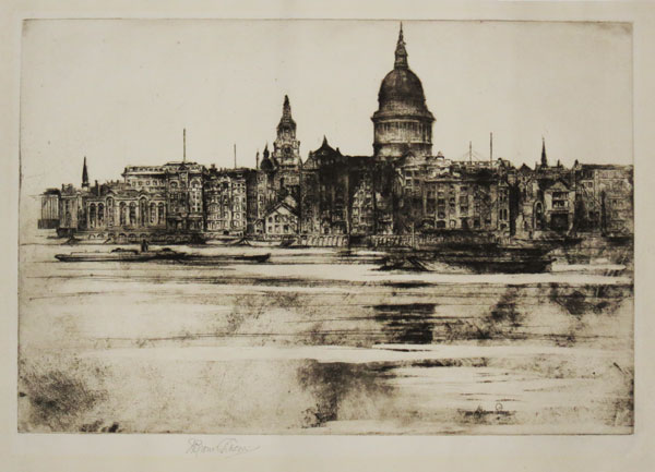 No 11. The River. St Pauls from Southwark London. [pencil]
