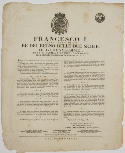 [Decree issued by Francesco I of the Two Sicilies, Naples, 17 May 1830]