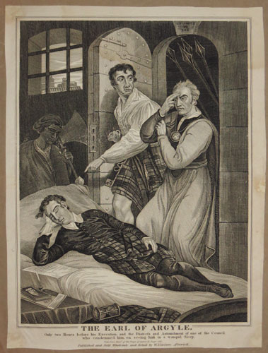 The Earl of Argyle, Only two Hours before his Execution, and the Distress and Astonishment of one of the Council who condemned him, on seeing him in a transquil Sleep.