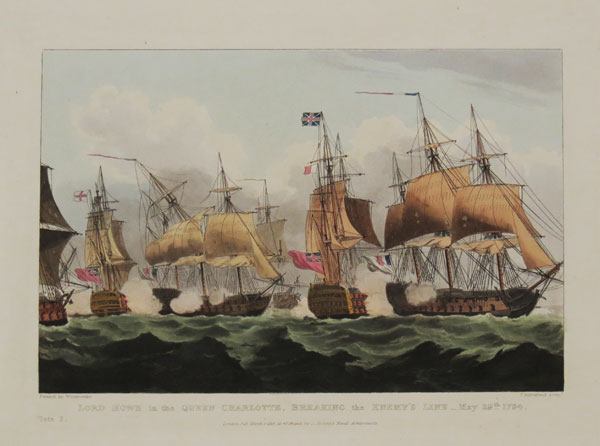 Plate I. Lord Howe in the Queen Charlotte, Breaking the Enemy's Line_May 29.th. 1794.
