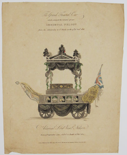 The Grand Funeral Car which conveyed the remains of our Immortal Nelson from the Admiralty to St Pauls on the 9.th of Jan.y 1806.