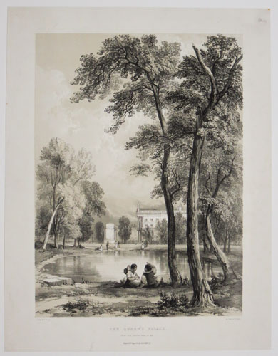 The Queen's Palace, from Green Park, in 1836.