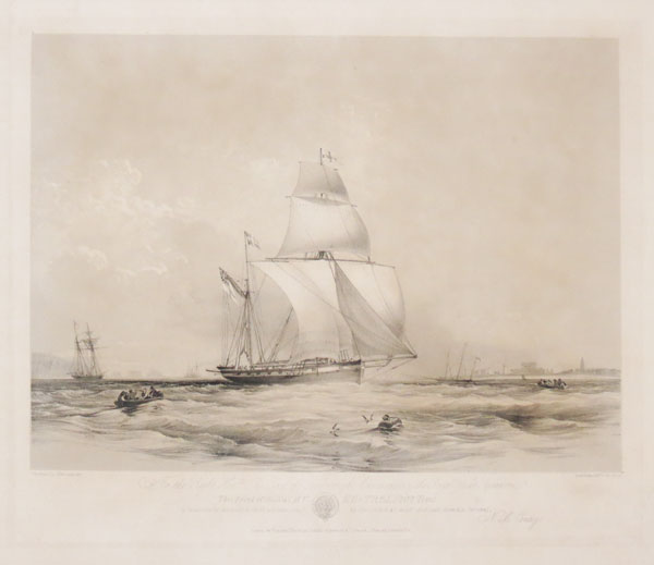 To the Right Hon.ble The Earl of Yarborough, Commodore of the Royal yacht Squadron, This Print of His Yacht Kestrel (202 Tons) is respectfully dedicated (with permission) by His Lordship'smost obedient humble Servant N.M. Condy.