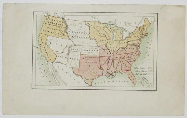 [Map of United States Showing Free States and Slave States.]