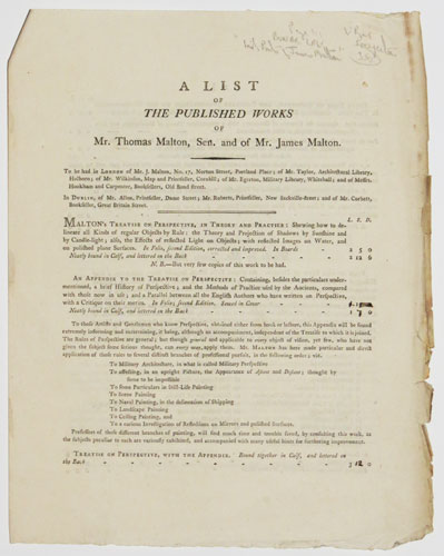A List of the Published Works of Mr. Thomas Malton, Sen. and of Mr. James Malton.