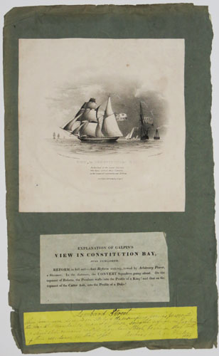 View in Constitution Bay [with letterpress 'explanation' of the print]