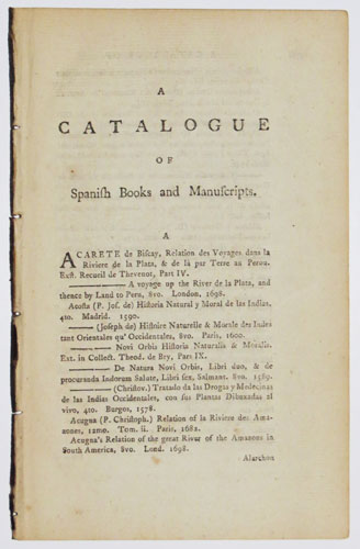 A Catalogue of Spanish Books and Manuscripts