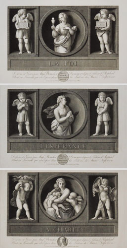 [Three plates representing the theological virtues of faith, hope and charity]