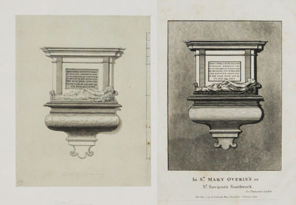 [Engraving of monument to William Emerson, with original drawing]