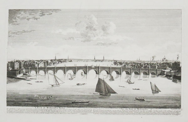 A View of Wesminster Bridge. This noble Bridge, not inferior to any in the World, in 1220 Feet long. This divided into 73 large Arches, 2 small Ones, 14 Piers, & 62 Abutmnets. The middle Arche is 76 Feet in diameter...It took up almost double the Quantity