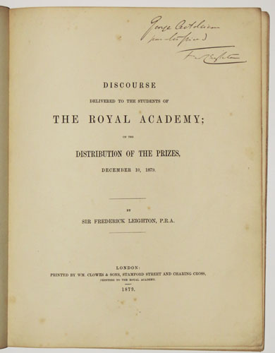 Discourse Delivered to the Students of the Royal Academy; on the Distribution of the Prizes, December 10, 1897.
