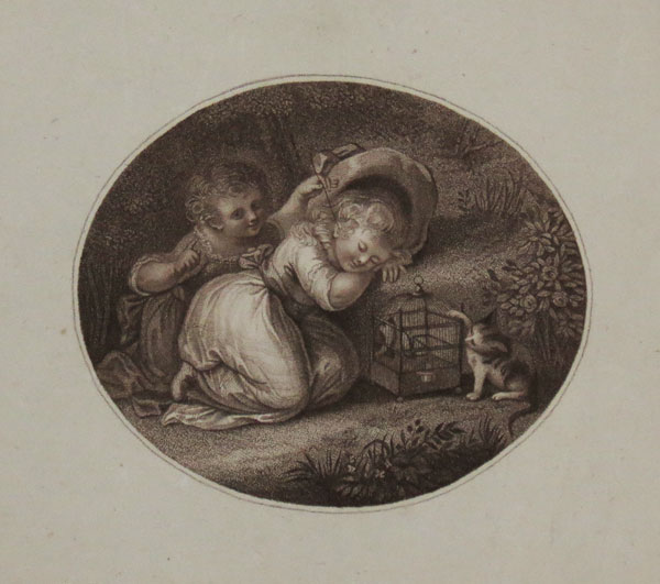 [Two children, one asleep, with a birdcage and cat]