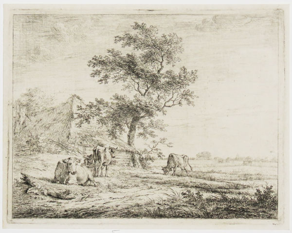 [Untitled landscape with cows and cottage.]