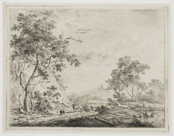 [Untitled landscape with cows and hills.]