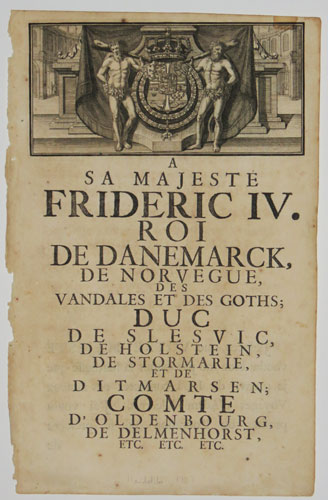 [Dedication to Frederick IV, from Adam Olearius' 'Travels in Muscovy, Tartary and Persia']