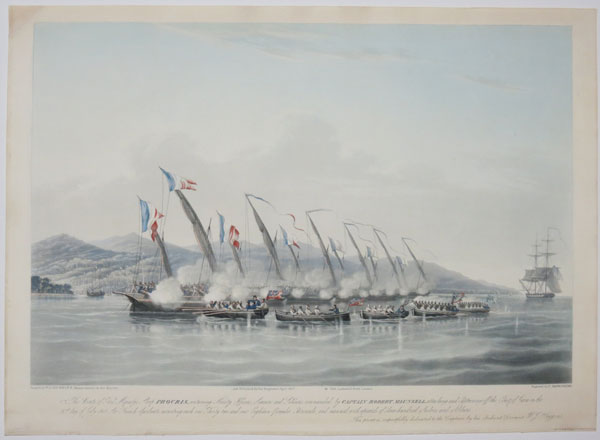The Boats of His Majesty's Sloop Procris, containing Ninety Officers, Seamen and Soldiers, commanded by Captain Robert Maunsell, attacking and Capturing off the Coast of Java on the 31.st. day of July 1811.