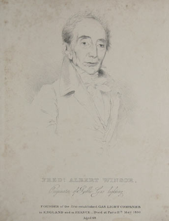 Fredc. Albert Winsor, Originator of Public Gas lighting. Founder of the first established Gas Light Companies in England and in France._Died at Paris 11th May 1830 Ages 68.