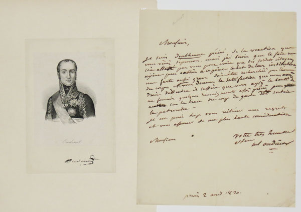 [Letter from Nicolas Charles Oudinot to unidentified recipient, 1820, with portrait of Oudinot]