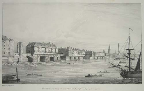 A View of London Bridge, taken from Saint Olave's Stairs, in the Year 1751, from an Engraving by John Boydell.