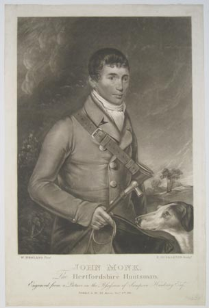 John Monk, The Hertfordshire Huntsman. Engraved from a Picture in the Possession of Sampson Hanbury Esqr.