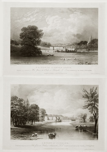 S.W. View of Clumber. [&] N.E. View of Clumber House.