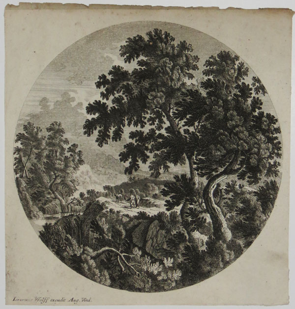 [Shepherds leading animals along a path in a landscape]