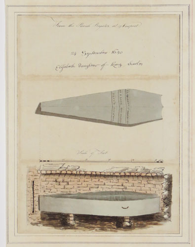 [Two drawings of the coffin of Elizabeth Stuart, daughter of Charles I]