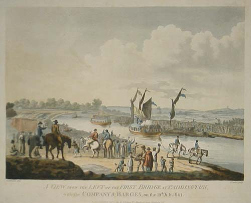 A View from the Left of the First Bridge at Paddington, with the Company & Barges, on the 10th July, 1801.