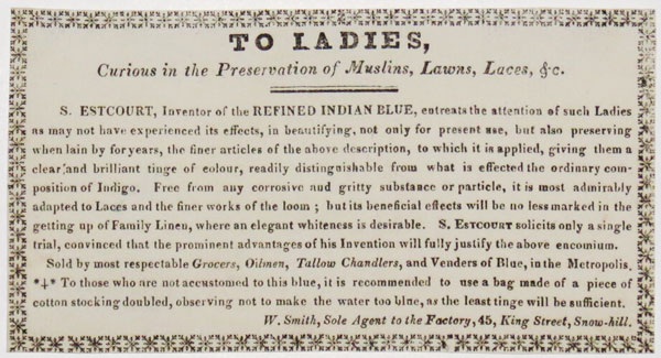 To Ladies, Curious in the Preservation of Muslins, Lawns, Laces, & c.