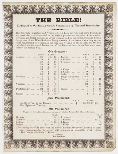 The Bible! Dedicated to the Society for the Supression of Vice and Immorality.