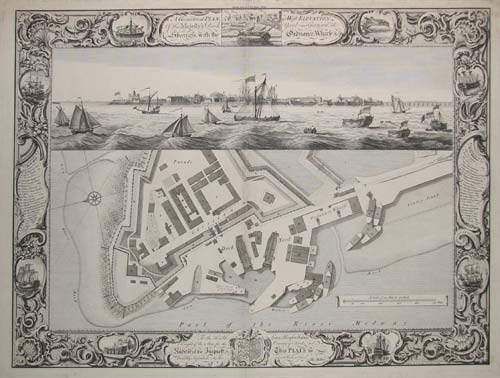 A Geometrical Plan, & West Elevation Of His Majesty's Dock-Yard, and Garrison at Sheerness, with the Ordanance , Warfe, &. C.