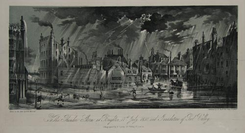 The Thunder Storm at Brighton, 17th July, 1850, and Innundation of Pool Valley.