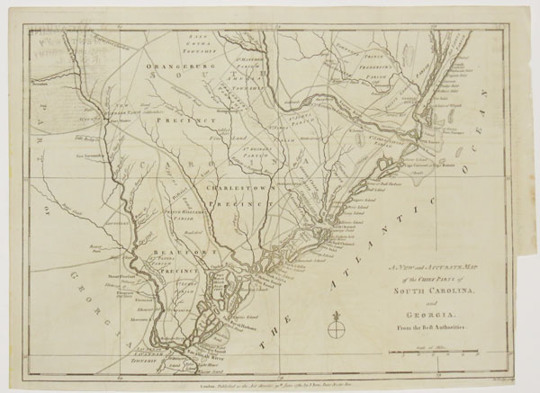 [American Revolution.] A New and Accurate Map of the Chief Parts of South Carolina, and Georgia, from the Best Authorities.