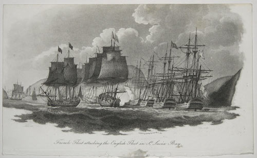 French Fleet attacking the English Fleet in St. Lucia Bay.