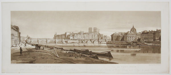 View of Pont Neuf, part of the Louvre, Notre Dame, & the College of four Nations.