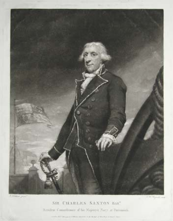 Sir Charles Saxton Bart.  Resident Commissioner of his Majesty's Navy at Portsmouth.