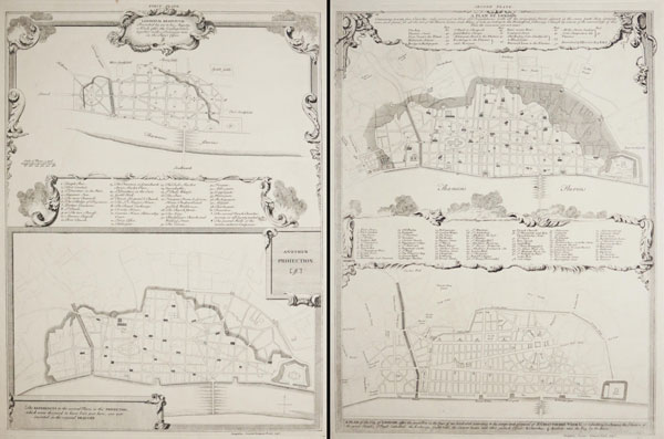 [John Evelyn's London plan, drawn after the Fire of London 1666] [&] London Redivivum / Presented by me to his Majesty, a Week after the Conflagration, together with a Discourse now in the Paper Office. JE [John Evelyn]. Another Projection JE. [...]