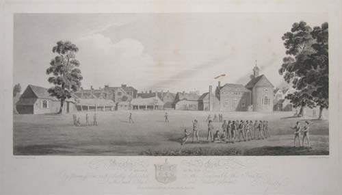 Rugby School as it appear'd in the Year 1809, Is by Permission respectfully dedicated to the Honorable the Trustees By their much obliged and Obedient Servant E.Pretty.