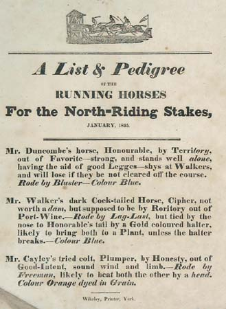 A List & Pedigree of the Running Horses For the North-Riding Stakes, January 1835.