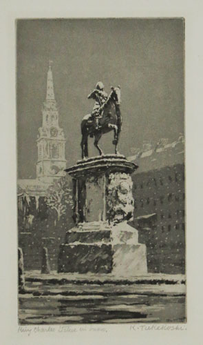 King Charles Statue in Snow [pencil].