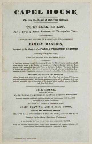 [Advert.] Capel House. The late Residence of Governor Boddam. To Be Sold, or Let, For a Term of Seven, Fourteen or Twenty-One Years.