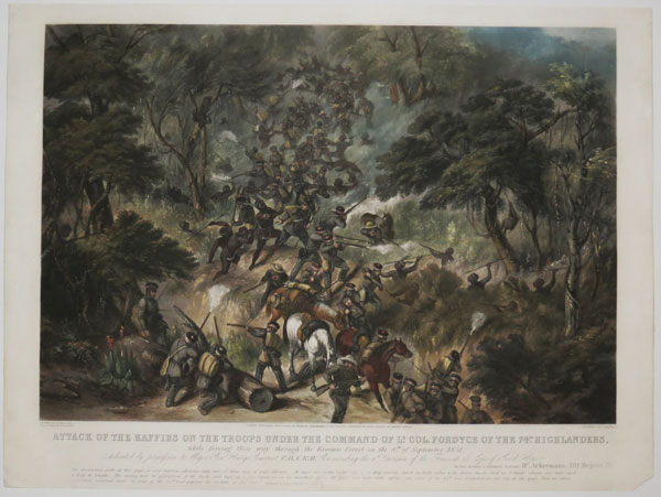 Attack of the Kaffirs on the Troops under the Command of L.t Col. Fordyce of the 74th Highlanders,