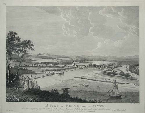 A View of Perth from the South. This Plate is respectfully inscribed to the Lord Provost and Magistsrates fo Perth by Their Much obliged humble Servant.