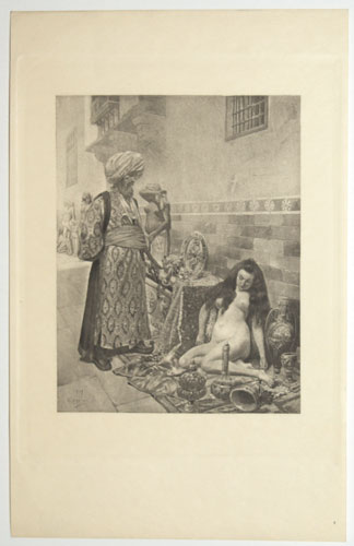 [A turbanned man looks down on a naked woman in a bazaar, a scene from Giovanni Boccaccio's 'Decameron']