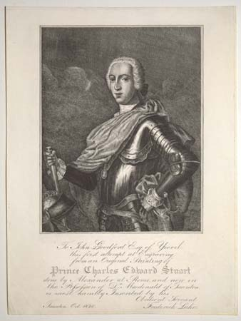 To John Goodford Esq. of Yeovil, this first attempt at Engraving from an Original Painting of Prince Charles Edward Stuart done by Alexander at Rome, and now in the Possession of Dr. Macdonald of Taunton, is most humbly Inscribed by his Obedient Servant