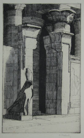 [Egyptian doorway, with hawk statue.]