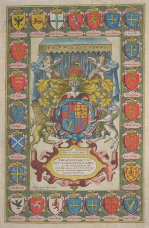 The Achievement of Our Soveraigne King James as he Nowe Beareth With the Armes of Severall kings that have aunciently raigned within his nowe Dominions.